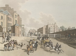 Views of London No. 4. Entrance of Oxford Street or Tyburn Turnpike with a view of Park Lane